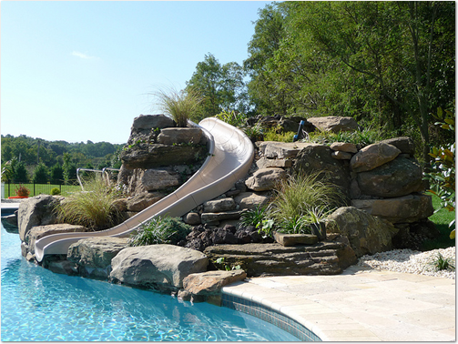 Pool Slides added on to our swimming pools